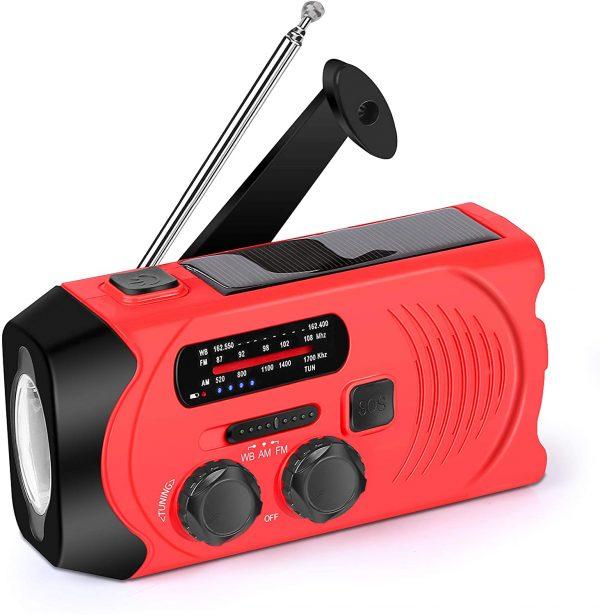 Noodradio Rood met Dynamofunctie Solar opladen en ingebouwde accu